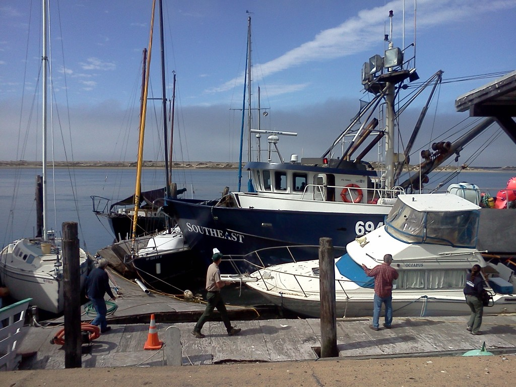 Fishing Vessel Southeast crashes into Fowler's Docks in Morro Bay.